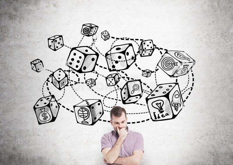 Kostka do gry nakreślenia prawdopodobieństwa teoria obraz stock