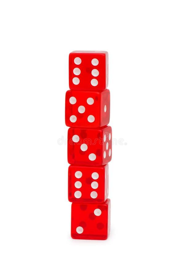 kostka do gry odizolowywająca czerwona sterta obrazy stock