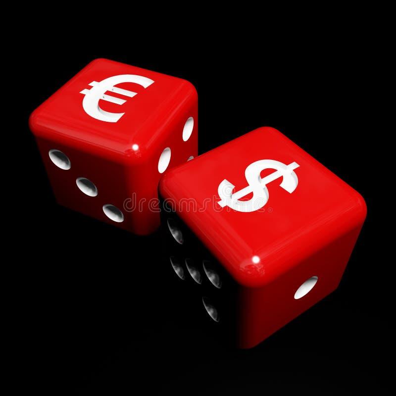 kostka do gry pieniądze czerwień ilustracji