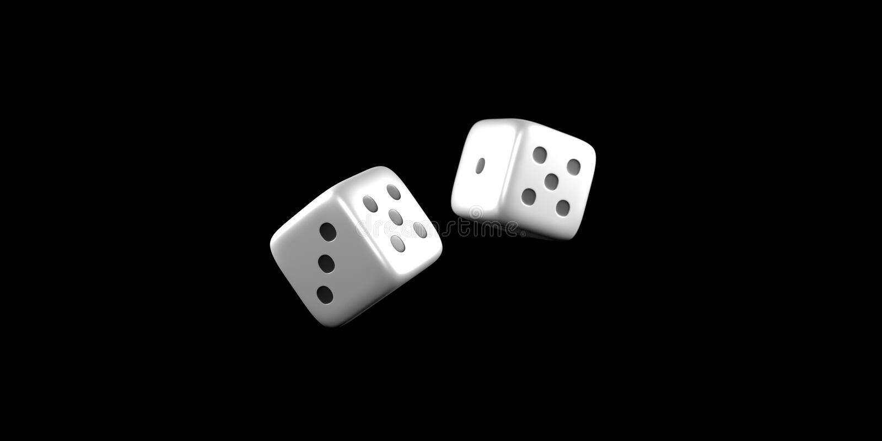 Kostka do gry rzucają w połowie powietrze na czarnym tle zdjęcie royalty free