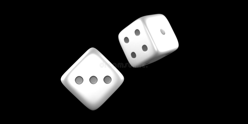 Kostka do gry rzucają w połowie powietrze na czarnym tle obraz stock