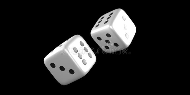 Kostka do gry rzucają w połowie powietrze na czarnym tle fotografia royalty free