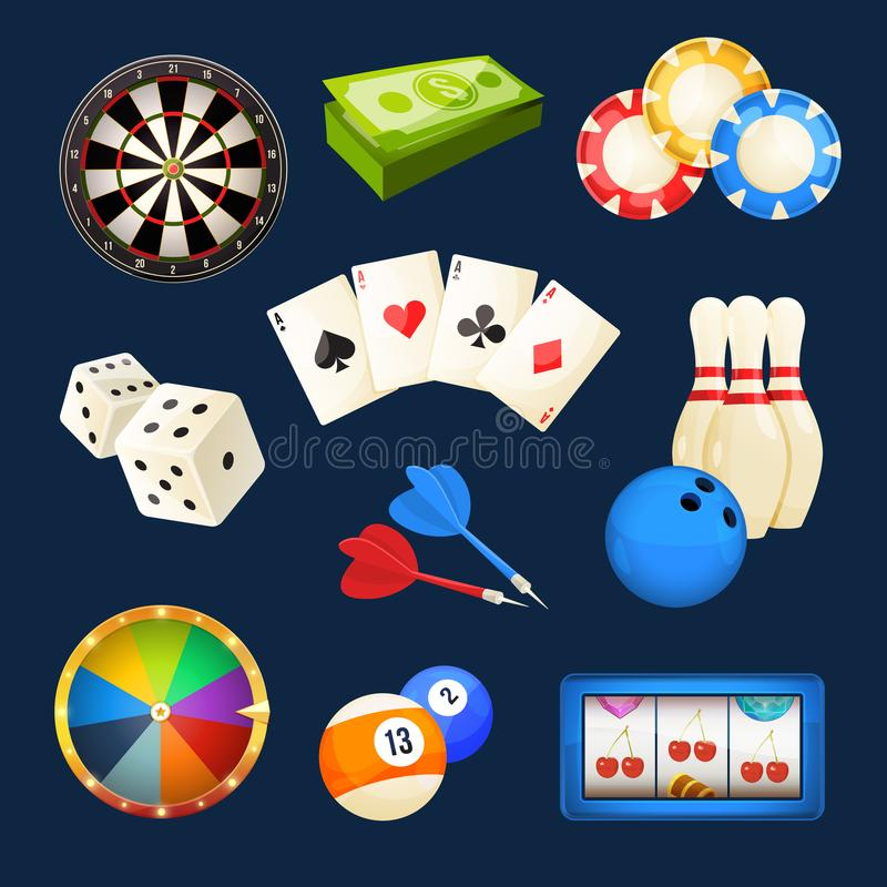 Kostka do gry, snooker, kasynowe gry, karty i inne popularne rozrywki, kartonowe koloru ikony ustawiać oznaczają wektor trzy royalty ilustracja