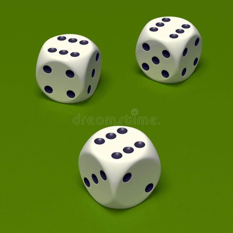 kostka do gry sześć trójek obraz stock