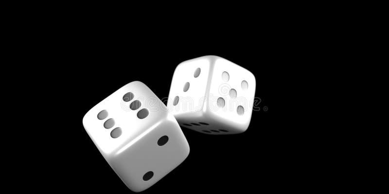 Kostka do gry w połowie rolka na czarnym tle fotografia royalty free