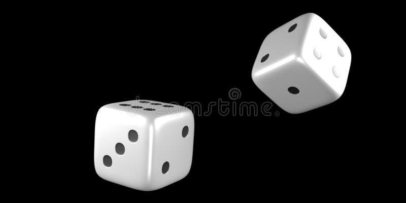 Kostka do gry w połowie rolka na czarnym tle zdjęcia stock