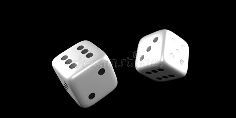 Kostka do gry w połowie rolka na czarnym tle zdjęcie stock