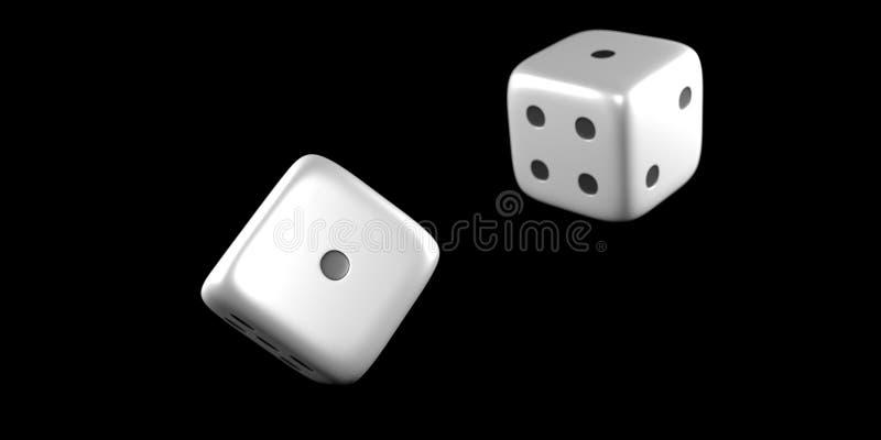Kostka do gry w połowie rzut z czarnym tłem zdjęcie royalty free