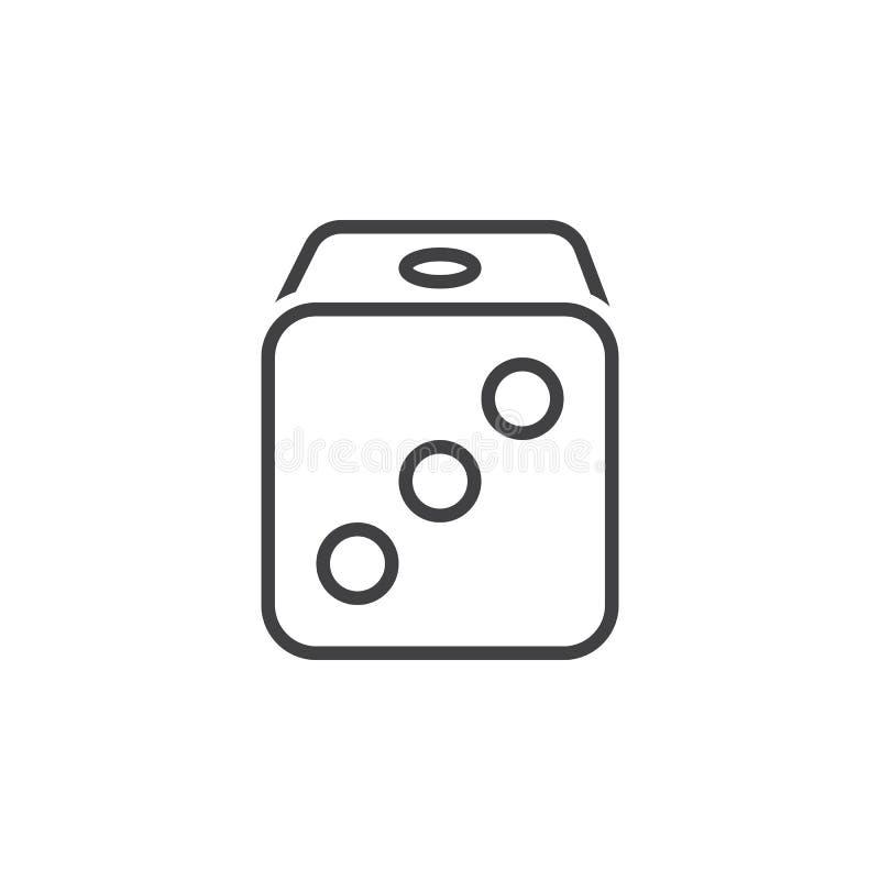 Kostka do gry wykładają ikonę, konturu wektoru znak, liniowy piktogram odizolowywający ilustracji