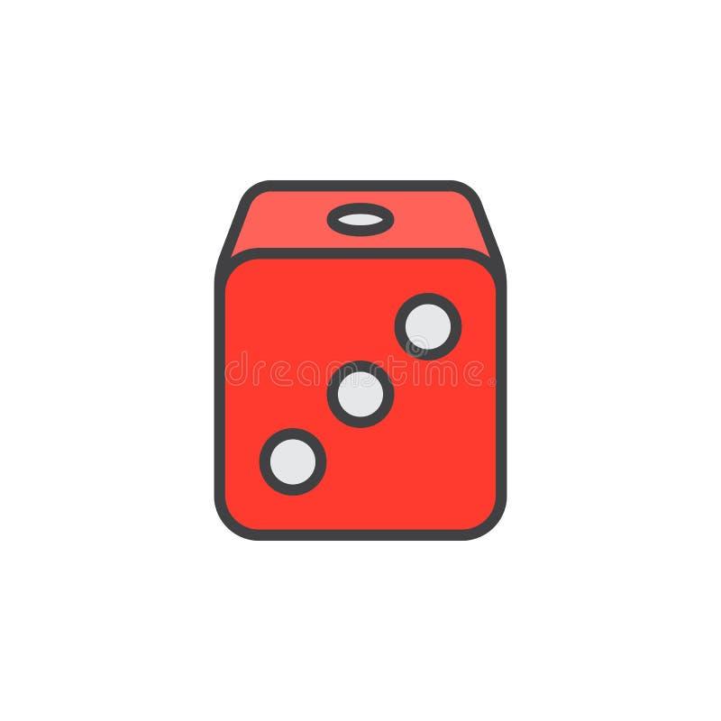 Kostka do gry wykładają ikonę, wypełniający konturu wektoru znak, liniowy kolorowy ilustracja wektor