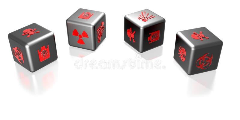 Kostka do gry z niebezpieczeństwo symbolami royalty ilustracja