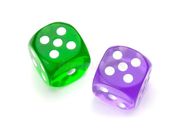 kostka do gry zielenieją purpury obraz stock
