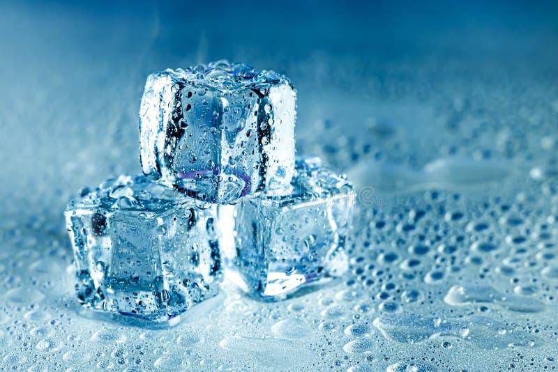 Kostka lodu i woda topią na chłodno tle Lodowi bloki z zimnymi napojami lub napojem zdjęcia royalty free