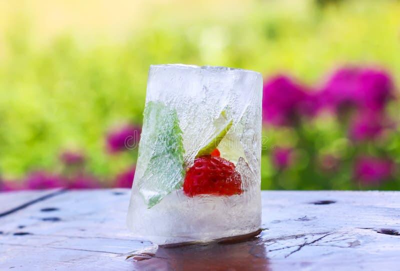 Kostka lodu z truskawką, cytryną i świeżymi zielonymi nowymi liśćmi na drewnianej powierzchni outdoors, fotografia royalty free
