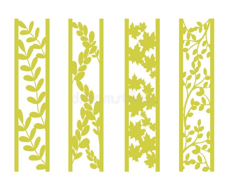 Kostki do gry i laseru rżnięci ornamentacyjni panel z kwiecistym wzorem Gzhel, stokrotki, poślubnik, róża kwiaty i liście, Laseru ilustracja wektor