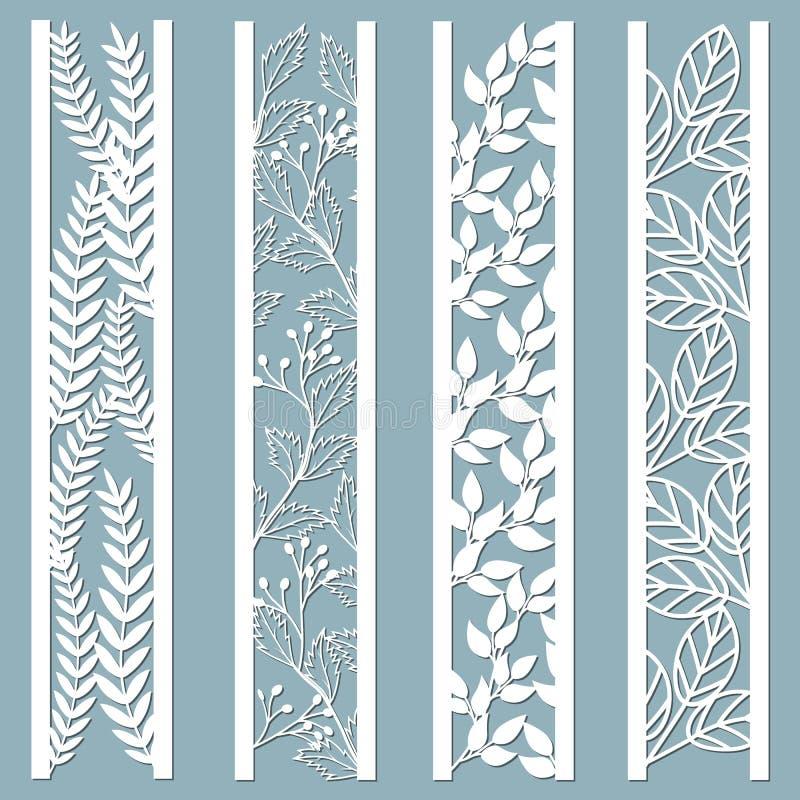 Kostki do gry i laseru rżnięci ornamentacyjni panel z kwiecistym wzorem liście, jagody, paproć Laser koronki granic rżnięci dekor ilustracja wektor