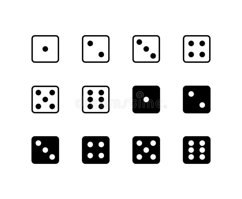 Kostki do gry ikony logo Wektorowy symbol Odizolowywający na Białym tle royalty ilustracja