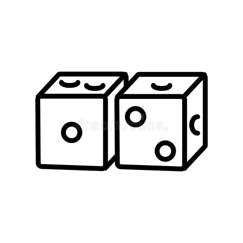 Kostki do gry ikony wektor odizolowywający na białym tle, kostki do gry podpisuje, linea royalty ilustracja