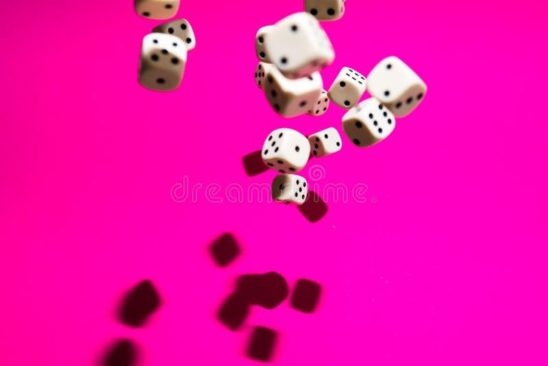 Kostki do gry w spadku na magenta tle zdjęcie royalty free
