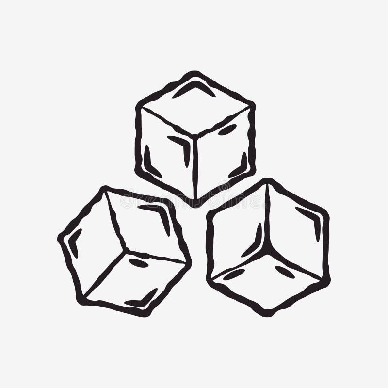 Kostki lodu ikona mrożonej wody wektor royalty ilustracja