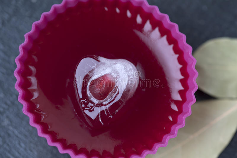 Kostki lodu serce z granatowem na galarecie fotografia stock