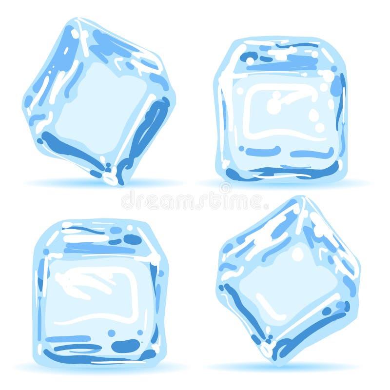 Kostki lodu ustawiać ilustracja wektor