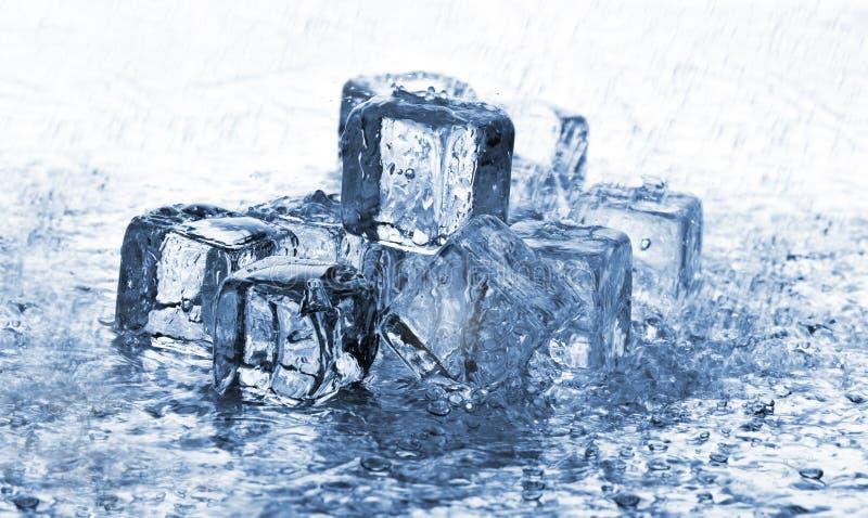 kostki podobszaru ices topnienia deszcz zdjęcie stock