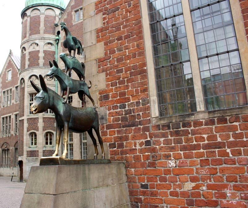 Kostkowa Stadtmusikanten statua w Bremen, Niemcy obrazy stock