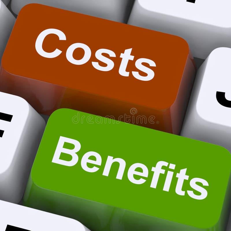 Kostnader drar nytta tangenter som visar analys och värde av en investering royaltyfri illustrationer