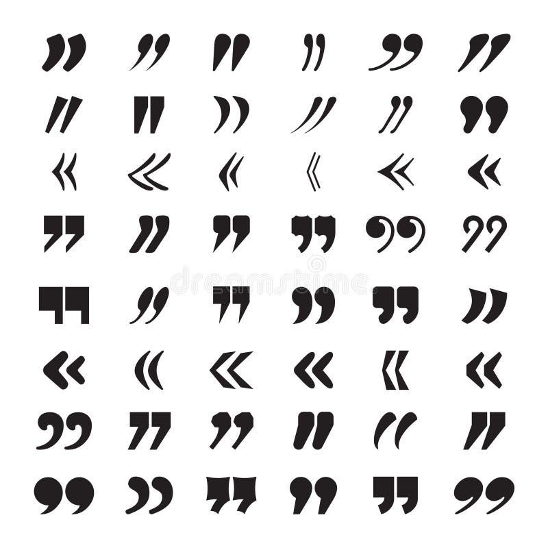 Kostnadsförslag - fläckar Samling för symboler för vektor för stämning för åsikt eller för idé för citationstecken för textkvarte royaltyfri illustrationer