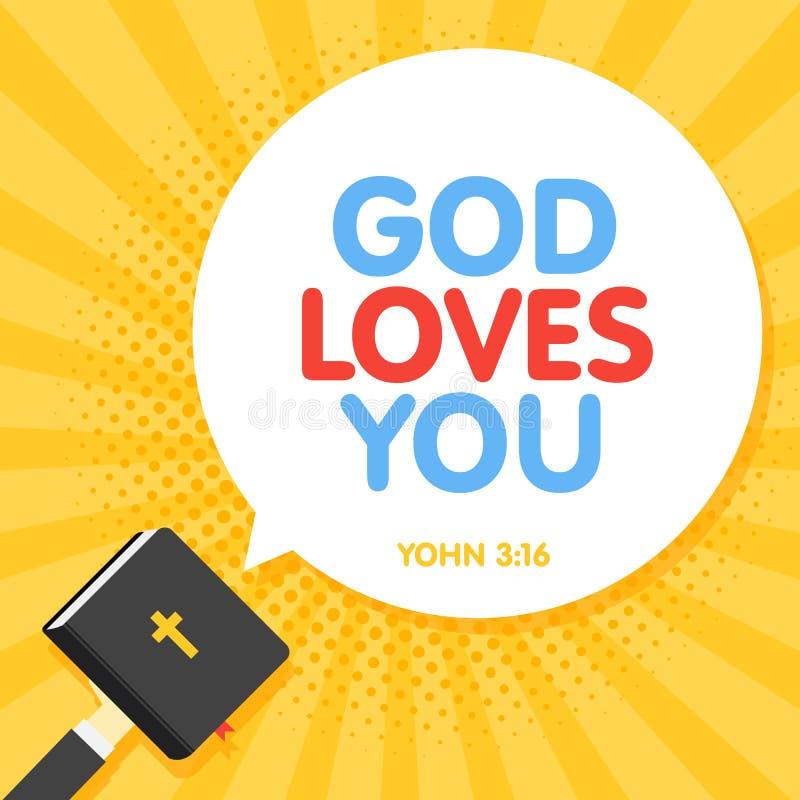 Kostnadsförslag från bibeln, gud älskar dig text Skriften för helig bok Kristen illustration i retro strålbakgrund royaltyfria foton