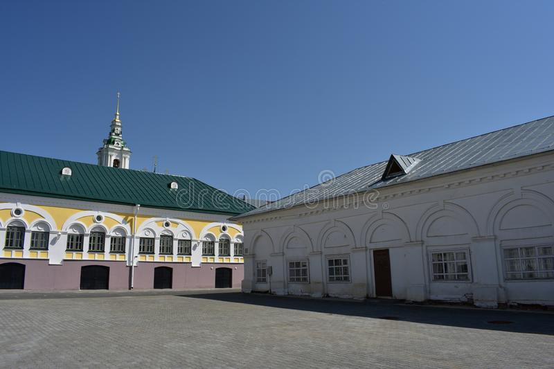 Kostroma beautiful view of the shopping arcade opens from the square, white arcade, bell tower and the dome of the Church. Of the Saviour takes us a century and royalty free stock photos