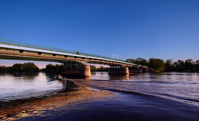 Kostrzyn brigde op het water royalty-vrije stock fotografie