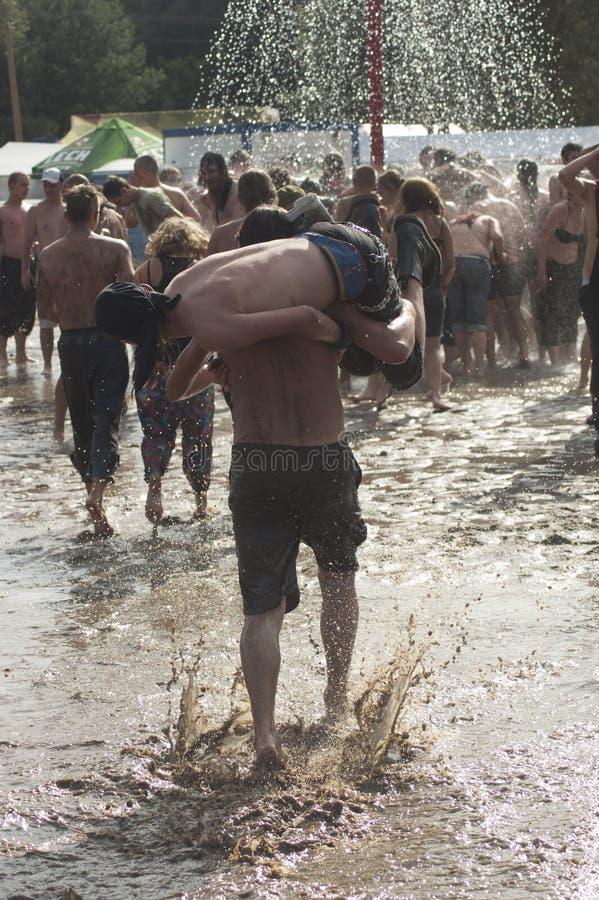 KOSTRZYN, POLAND, festival de Przystanek Woodstock. fotos de stock royalty free