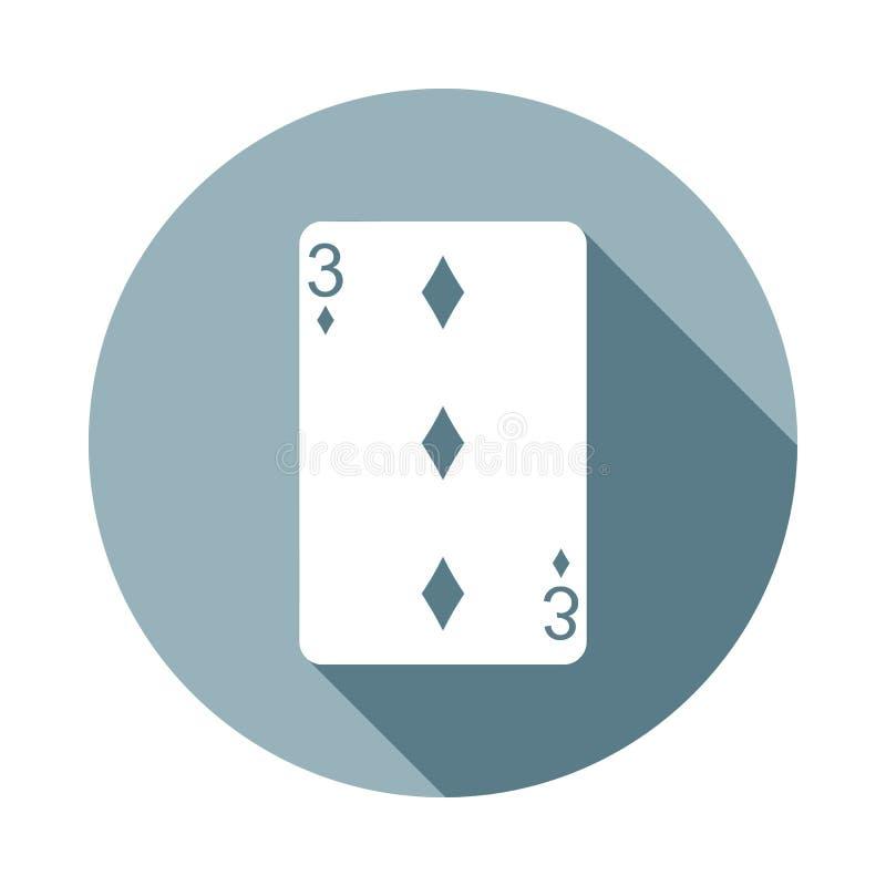 Kostuum drie van de speelkaartdiamant pictogram in Vlakke lange schaduwstijl Één van het pictogram van de Webinzameling kan voor  stock illustratie