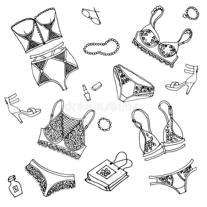 Kostuum van het het ondergoed het zwarte lichaam van het reeksenkant met bustehouder en damesslipjes stock illustratie