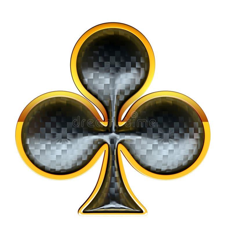Kostuums van de clubs de geweven kaart met het gouden ontwerpen vector illustratie
