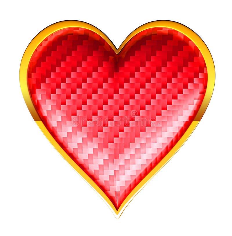 Kostuums van de harten de geweven kaart met het gouden ontwerpen stock illustratie