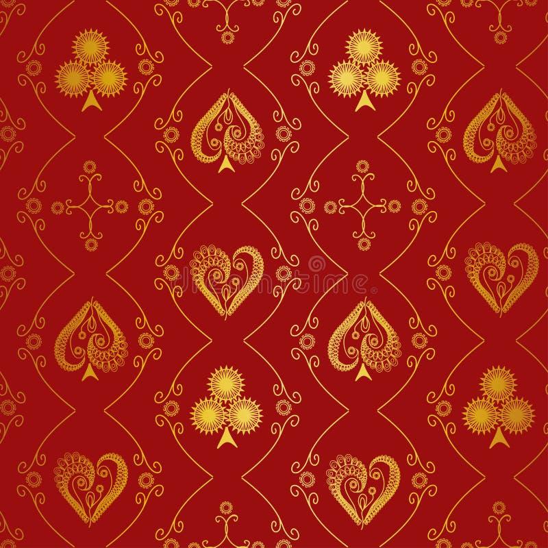 Kostuums van speelkaarten naadloos patroon royalty-vrije illustratie