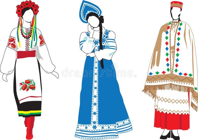 kostymerar national deras kvinnor royaltyfri illustrationer