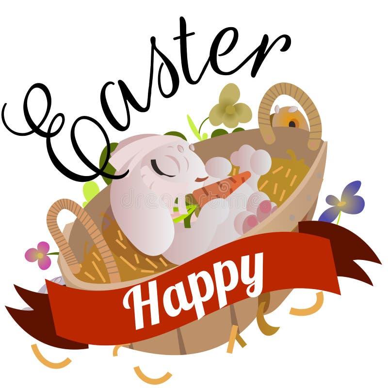 Kosz dekorował Easter jajka na zielonej trawie dla wakacyjnego świętowania, wiosna sezonu kolorowych uroczych królików szczęśliwa ilustracji