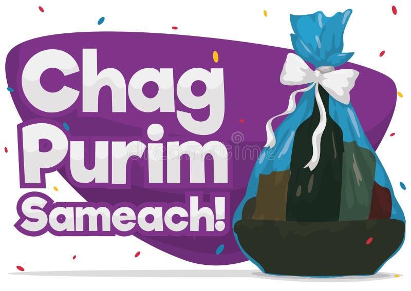 Kosz dla prezentów, dobroczynność, powitanie i confetti dla Purim, Wektorowa ilustracja royalty ilustracja