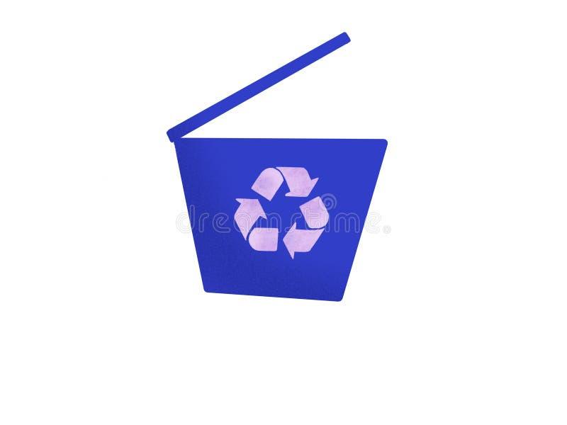kosz ikona przetwarza Ręka rysująca ilustracja błękitny kubeł na śmieci z royalty ilustracja