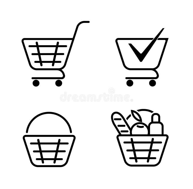 Kosz jedzenie, kosz ustalone ikony Sklepu spożywczego zakupy, specjalna oferta, wektor ikony kreskowy projekt Tramwaj ikona royalty ilustracja