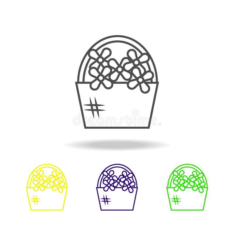 kosz kwiat stubarwna ikona Element ślub, cienka kreskowa stubarwna ikona może używać dla sieci, logo, mobilny app, UI, ilustracji