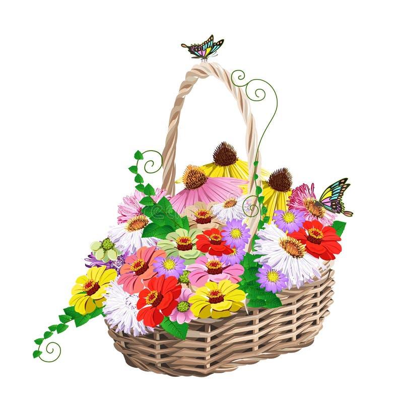 Kosz kwiaty royalty ilustracja