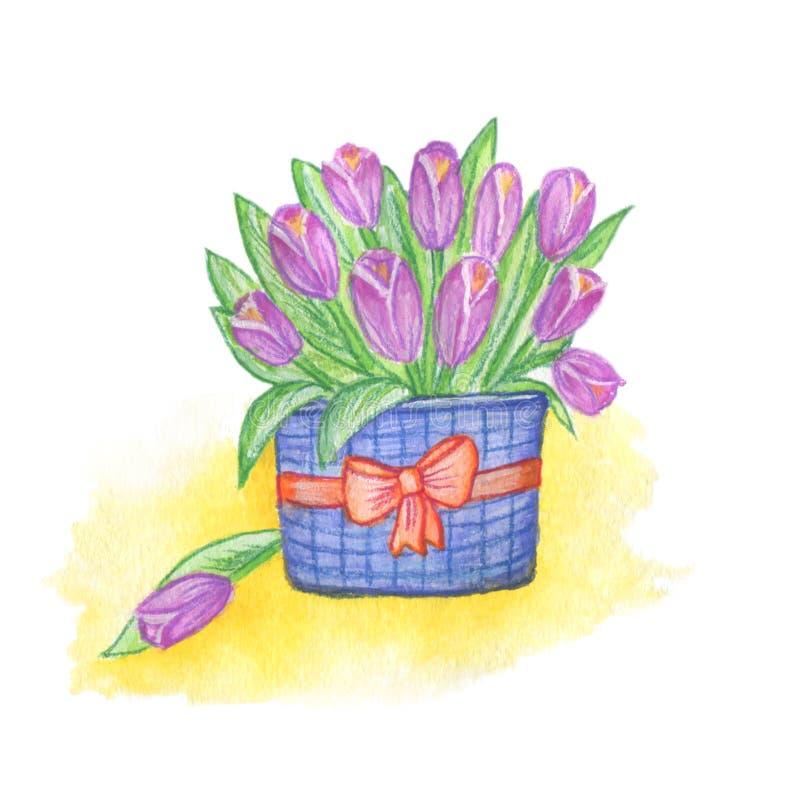 Kosz kwiaty malujący z akwarelami ilustracji