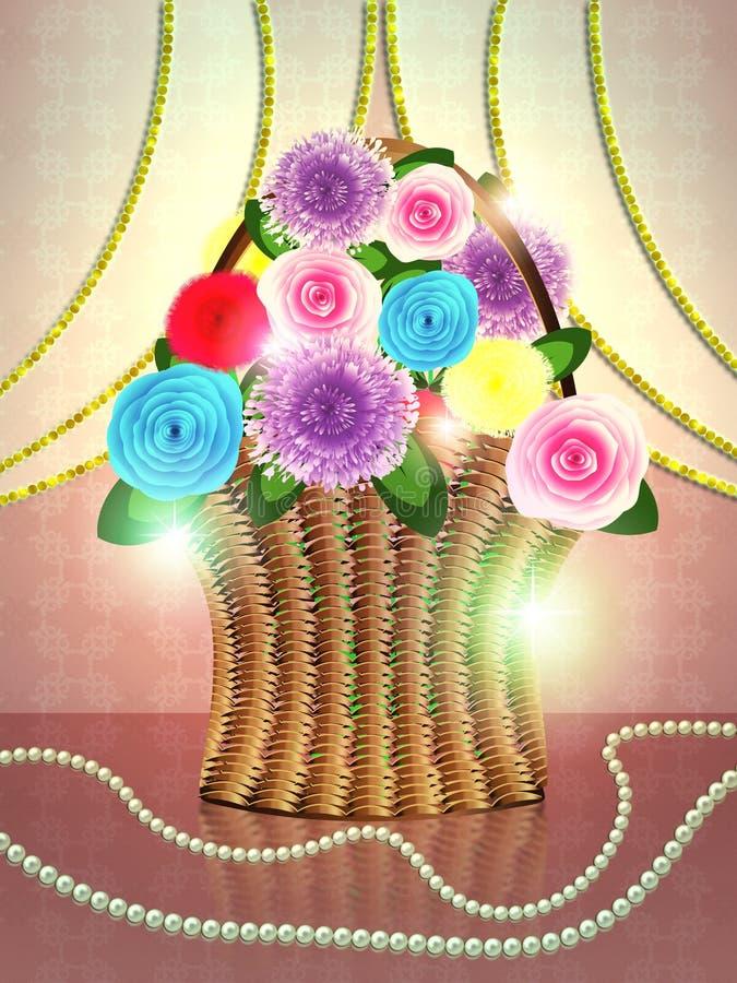 Kosz kwiaty na wakacyjnym tle royalty ilustracja