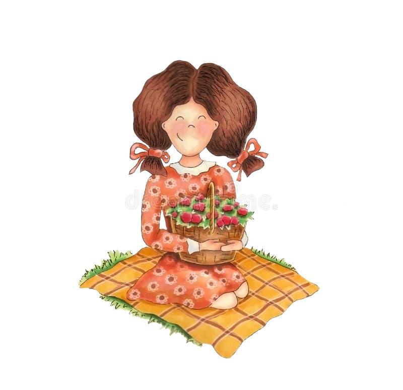 kosz kwitnie dziewczyny ilustracja wektor