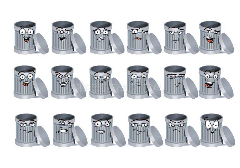 Kosz na śmieci avatar ikony set ilustracji
